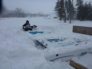Some think we will miss winter. Believe me we have seen and enjoyed a full winter even though we are not quite half way through it. We dug more than two feet of hard packed snow off the Hobie cats.