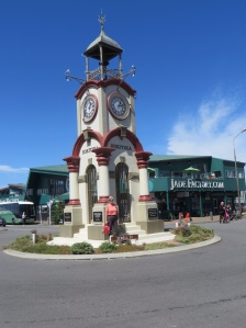 Downtown Hokitika where the possum-merino wool products are incredibly soft.