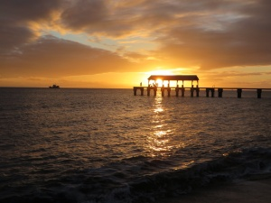 Sunset on Waimea pier on Tuesday
