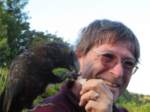 Brian making friends with the kaka on the deck