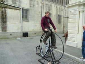 Brian trying a penny farthing