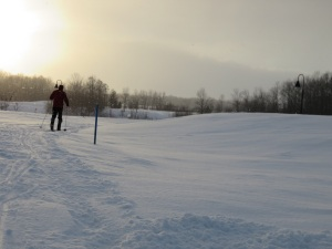 Skiing before sunset