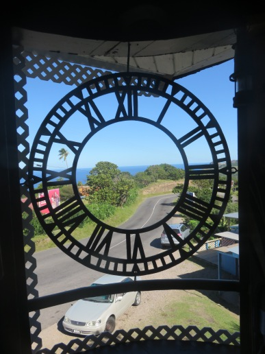 The clock face from the tower in Plymouth.